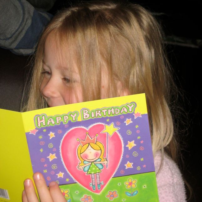 Reading a Birthday Card